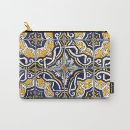 Ornate Blue, Yellow and White Portuguese Tile Carry-All Pouch