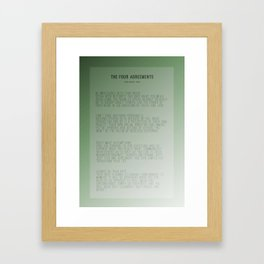 The Four Agreements Green Background Framed Art Print