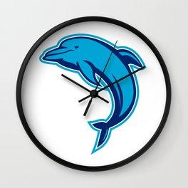 Blue Dolphin Jumping Retro Wall Clock