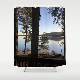 Lake Tahoe cabin view Shower Curtain