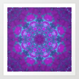 Pink, Purple, and Blue Pixels Art Print