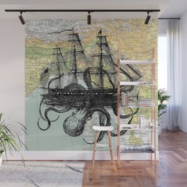 Octopus Attacks Ship on map background Wall Mural