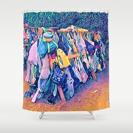 Camping Bag Dishes Shower Curtain