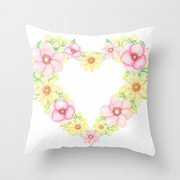 Spring Flowers Heart Wreath Throw Pillow