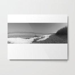 Kluane Lake Black and White Metal Print