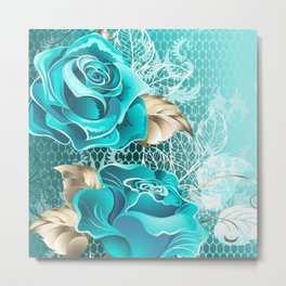 Lacy Background with Turquoise Roses Metal Print