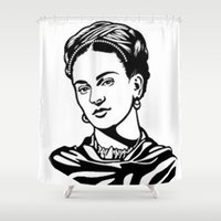 frida Shower Curtains featuring Frida  by b & c