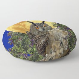 NIGHT OWL WITH FULL MOON Floor Pillow