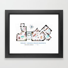 Sheldon, Leonard and Penny Apartment form TBBT Framed Art Print