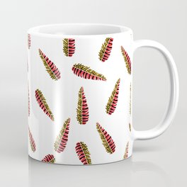 Spotted Yellow and Striped Orange Feather Coffee Mug