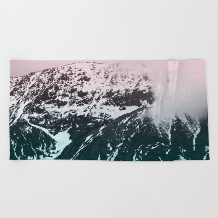 Mountains last forever Beach Towel