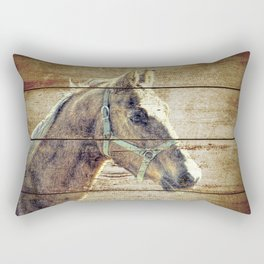 Rustic Brown Cream Horse Cottage Chic Country Decor Barn Art A019 Rectangular Pillow