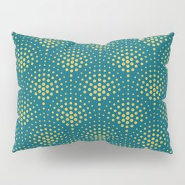 Dark Yellow Polka Dot Scallop Pattern on Tropical Dark Teal Inspired by Sherwin Williams 2020 Trending Color Oceanside SW6496 Pillow Sham