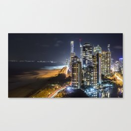 Surfers At Night Canvas Print