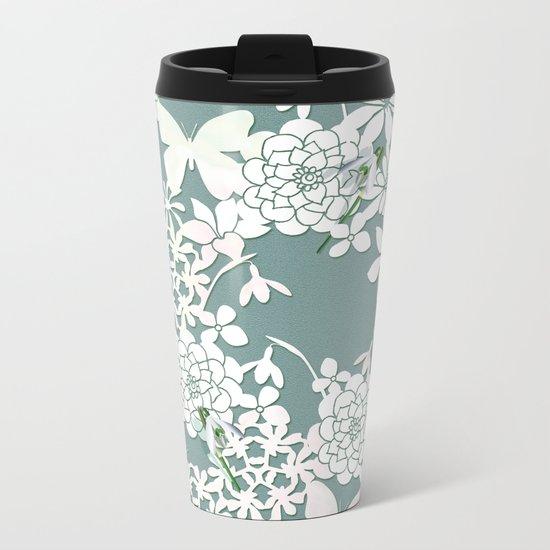Papercut snowdrops Metal Travel Mug