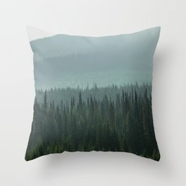Misty Pine Trees Photography, Forest Mountain Landscape Photography Throw Pillow