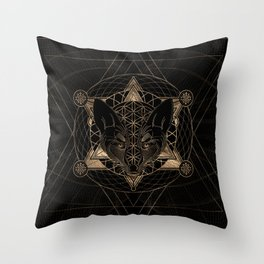 Fox in Sacred Geometry  - Black and Gold Throw Pillow
