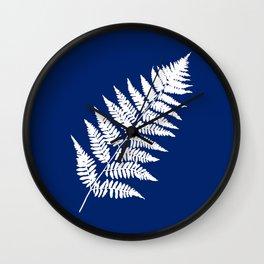 Woodland Fern Pattern, Cobalt Blue and White Wall Clock