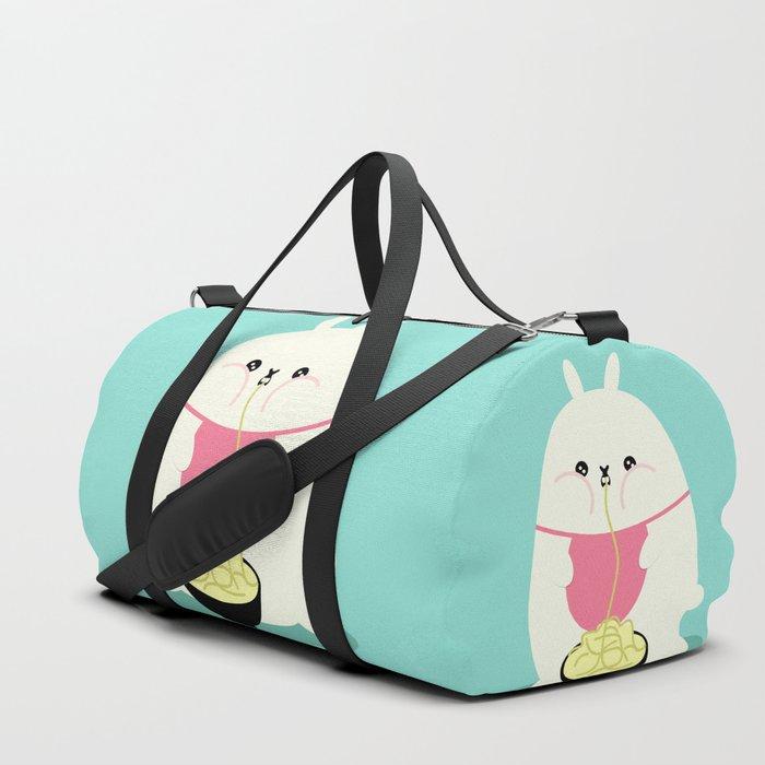 Fat bunny eating noodles Duffle Bag