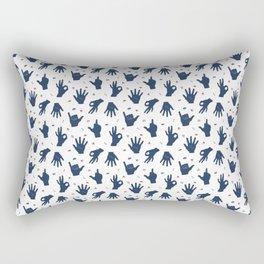 Blue and red hands Rectangular Pillow