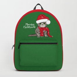 Cat Lover's Meowy Christmas Santa Cat With Green Background Backpack