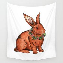 Flower Bunny Rabbit Wall Tapestry