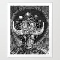 taurus Art Prints featuring TAURUS by Julia Lillard Art