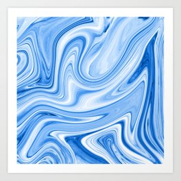 Blue and White Abstract Marble Pattern Art Print
