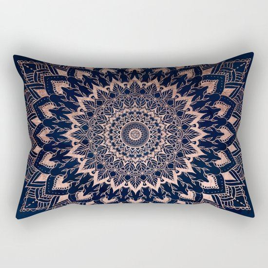 Boho rose gold floral mandala on navy blue watercolor by girlytrend