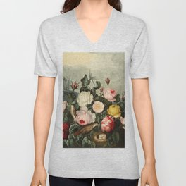 Pink  Red Floral : New Illustration Of The Sexual System Unisex V-Neck