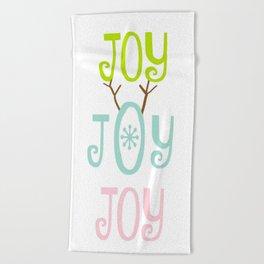 Holiday JOY antlers - coastal Christmas Beach Towel