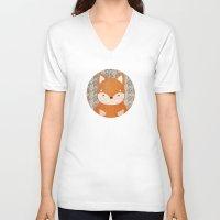 shiba inu V-neck T-shirts featuring Cute Shiba Inu by Goodnight Silver
