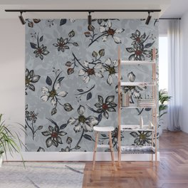 Botanical Pattern on Grey Background Wall Mural
