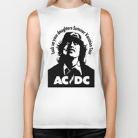 acdc Biker Tanks featuring Ac/Dc angus young by aceofspades81