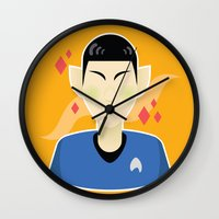spock Wall Clocks featuring spock by monsternist