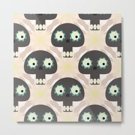 Cute pattern with funny skulls and flowers Metal Print
