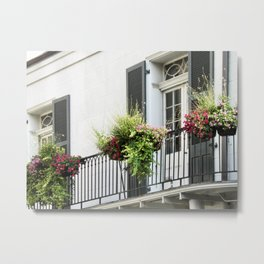 black and white balcony in French Quarter Metal Print