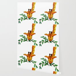 Embroidered giraffe with leaves Wallpaper