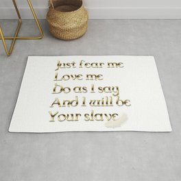 Just Fear Me (white bg) Rug