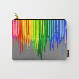 Rainbow Drips Gray Carry-All Pouch