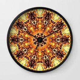 Yellow Brown Mandala Abstract Flower Wall Clock
