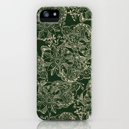 Hand painted gold forest green modern floral iPhone Case