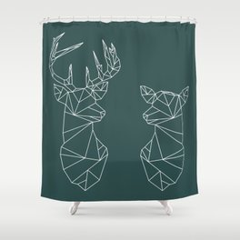 Geometric Stag and Doe (White on Slate) Shower Curtain