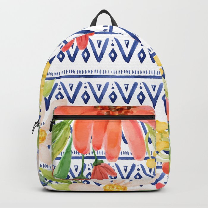 Indigo with watercolor flowers Backpack