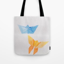 Origami-boat and butterfly Tote Bag