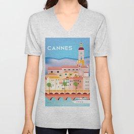 Cannes, France- Skyline Illustration by Loose Petals Unisex V-Neck
