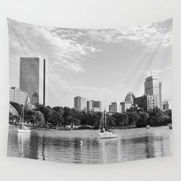 Black & White Boston Skyline I Wall Tapestry