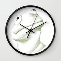 kermit Wall Clocks featuring Kermit Linear Curve Art by Rene Alberto