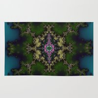 hexagon Area & Throw Rugs featuring Fractal Hexagon by Harvey Warwick