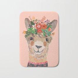 Llama with Flower Crown by Mia Charro Bath Mat
